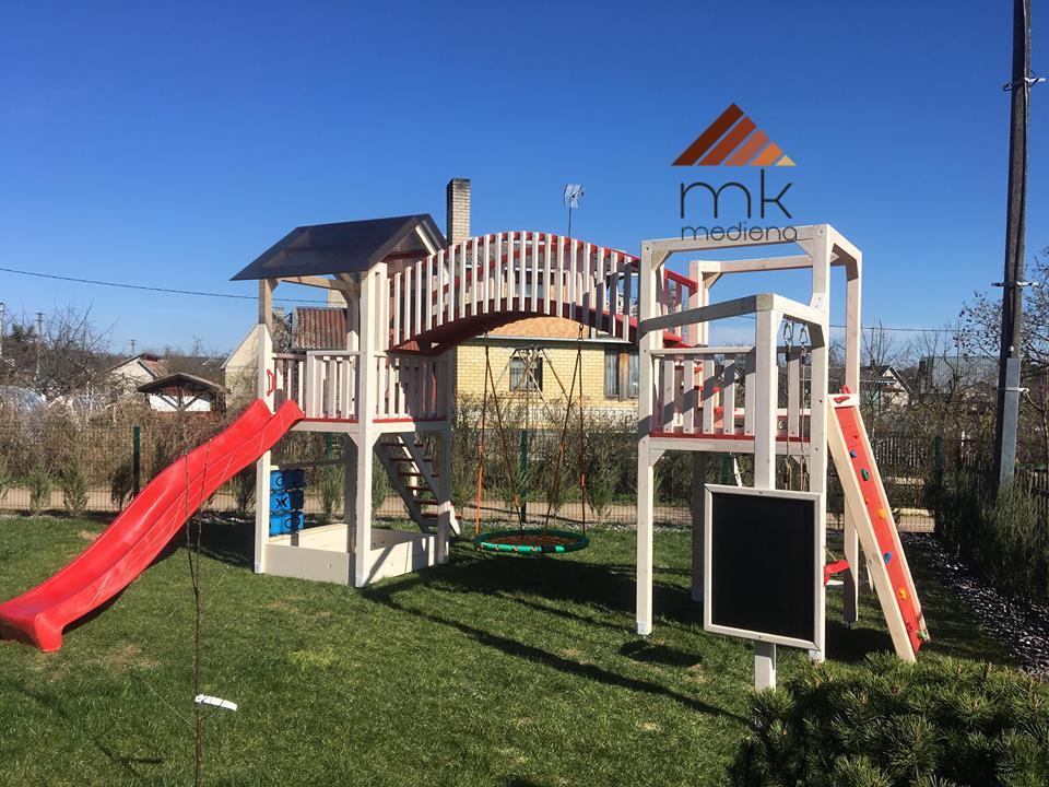 Medinė vaikų žaidimų aikštelė su priedais. www.mediskitaip.lt. UAB MK Mediena